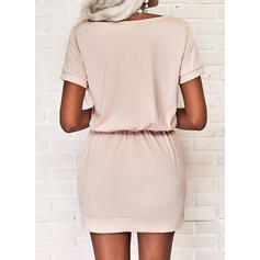 Print/Letter Short Sleeves Sheath Above Knee Casual Dresses