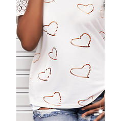 Print Lace Heart One Shoulder Short Sleeves Casual Blouses