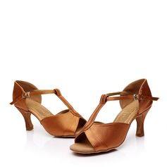 Women's Latin Heels Sandals Satin With T-Strap Buckle Hollow-out Latin