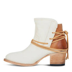 Women's PU Chunky Heel Pumps Boots With Lace-up shoes