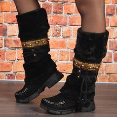 Women's PU Chunky Heel Snow Boots Round Toe Winter Boots With Lace-up Splice Color shoes