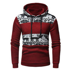 Men's Polyester Cotton Blends Print Reindeer Christmas Sweatshirt