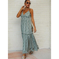 Print Sleeveless A-line Skater Casual/Vacation Maxi Dresses
