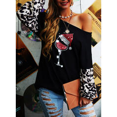 Print Leopard One-Shoulder Long Sleeves Casual Christmas Knit Blouses