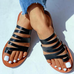 Women's Patent Leather Flat Heel Sandals Slippers With Hollow-out shoes