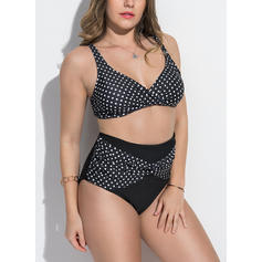 Dot Patchwork Strap Elegant Plus Size Bikinis Swimsuits