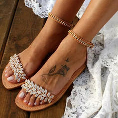 Women's PU Flat Heel Sandals Flats Peep Toe With Crystal Buckle shoes