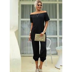 Solid Off the Shoulder Short Sleeves Casual Jumpsuit