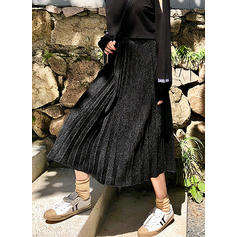 Woollen Plain Mid-Calf Pleated Skirts