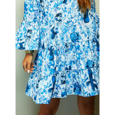Print/Floral Long Sleeves/Flare Sleeves Shift Knee Length Casual/Vacation Tunic Dresses