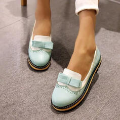Women's PU Low Heel Flats With Bowknot shoes