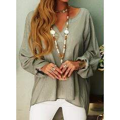 Solid V-Neck Long Sleeves Casual Blouses