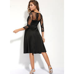 Lace/Solid 3/4 Sleeves A-line Knee Length Little Black/Casual Skater Dresses