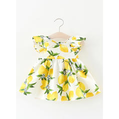 Girls Round Neck Print Ruffles Casual Cute Dress