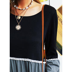Color Block Round Neck Long Sleeves Casual Blouses
