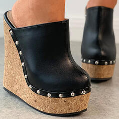 Women's PU Wedge Heel Pumps Platform Closed Toe Wedges Round Toe With Rivet Hollow-out shoes