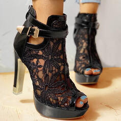 Women's Mesh Stiletto Heel Pumps Peep Toe With Bowknot Hollow-out shoes