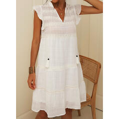 Lace/Solid Cap Sleeve Shift Above Knee Casual/Vacation Dresses