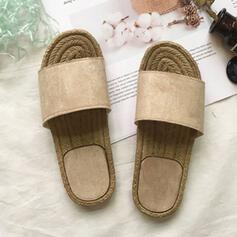 Women's Suede Flat Heel Sandals Peep Toe Slippers With Solid Color shoes