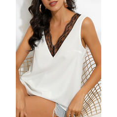 Patchwork Lace V-Neck Sleeveless Casual Tank Tops