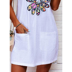 Print/Floral Sleeveless Shift Above Knee Casual Tank Dresses