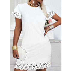 Solid/Hollow-out Short Sleeves Shift Above Knee Casual Dresses