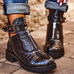 Women's PU Chunky Heel Ankle Boots Chelsea Boots With Buckle Zipper Hollow-out Solid Color shoes