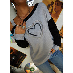 Print Sequins Heart One-Shoulder Long Sleeves Casual Blouses