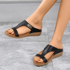 Women's PU Wedge Heel Sandals Wedges Peep Toe Slippers With Hollow-out shoes