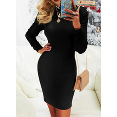 Solid Round Neck Casual Long Tight Sweater Dress