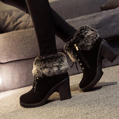 Women's Suede Chunky Heel Ankle Boots With Rivet Zipper Lace-up Faux-Fur shoes