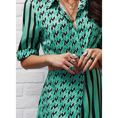 Print/Striped 1/2 Sleeves A-line Shirt/Skater Casual/Vacation Maxi Dresses