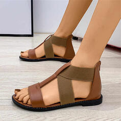 Women's PU Flat Heel Sandals Slingbacks With Hollow-out Elastic Band shoes