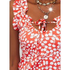 Print/Floral/Lace-up Sleeveless Bodycon Above Knee Casual Dresses