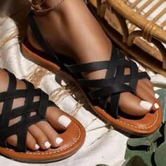 Women's PU Flat Heel Sandals Flats Peep Toe Slippers With Hollow-out Striped shoes