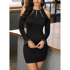 Solid Long Sleeves/Cold Shoulder Sleeve Bodycon Above Knee Sexy/Casual Dresses
