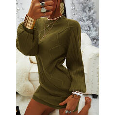 Solid Round Neck Casual Long Sweater Dress