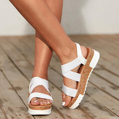 Women's Leatherette Flat Heel Sandals Platform Peep Toe With Hollow-out shoes