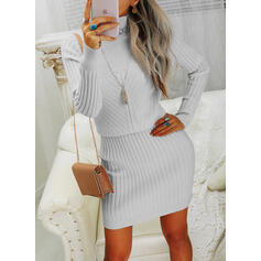 Solid Turtleneck Casual Long Sweater Dress