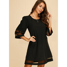 Solid 1/2 Sleeves Shift Above Knee Little Black/Casual Dresses