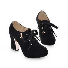 Women's Suede Chunky Heel Pumps Platform Closed Toe shoes