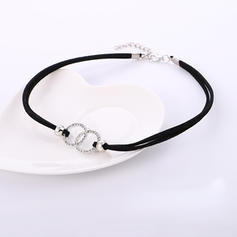 Stylish Alloy Rhinestones Leather Rope With Rhinestone Women's Necklaces (Sold in a single piece)