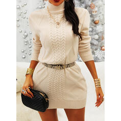 Solid Crochet Stand Collar Casual Long Sweater Dress