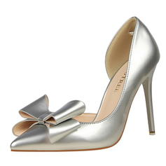 Women's Patent Leather Stiletto Heel Pumps Closed Toe With Bowknot shoes