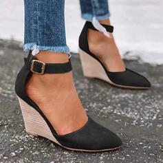 Women's Leatherette Wedge Heel Pumps Closed Toe Wedges Pointed Toe With Buckle shoes