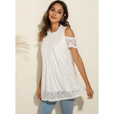Solid Lace Cold Shoulder Short Sleeves Casual Blouses