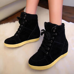 Women's Leatherette Flat Heel Ankle Boots Round Toe With Lace-up Solid Color shoes