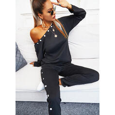 Solid Casual Plus Size Drawstring Pearl Two-Piece Outfits