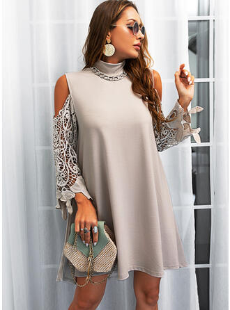 Lace/Solid Long Sleeves Shift Above Knee Casual Dresses