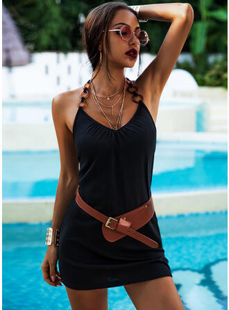 Solid Sleeveless Sheath Above Knee Sexy/Casual/Vacation Dresses